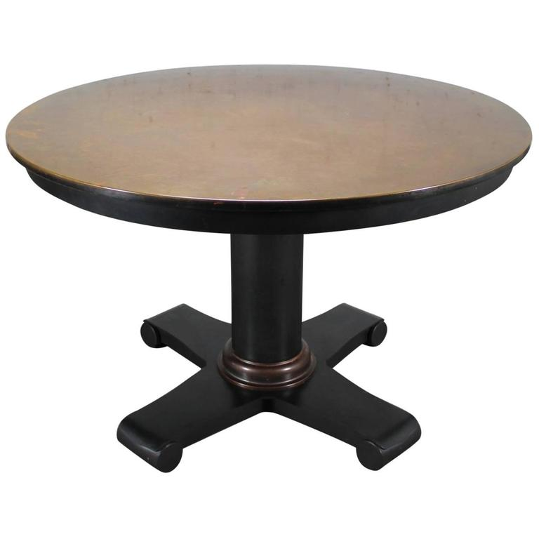 Round Copper Top Dining Table With Steel Pedestal Base 1