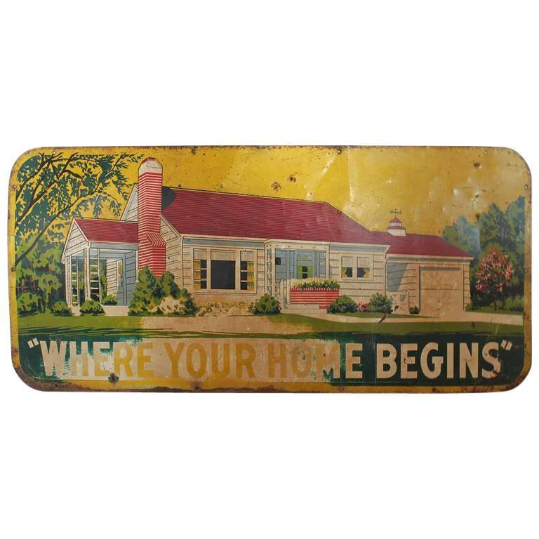 """Large 1950s Metal Sign """"Where Your Home Begins"""""""