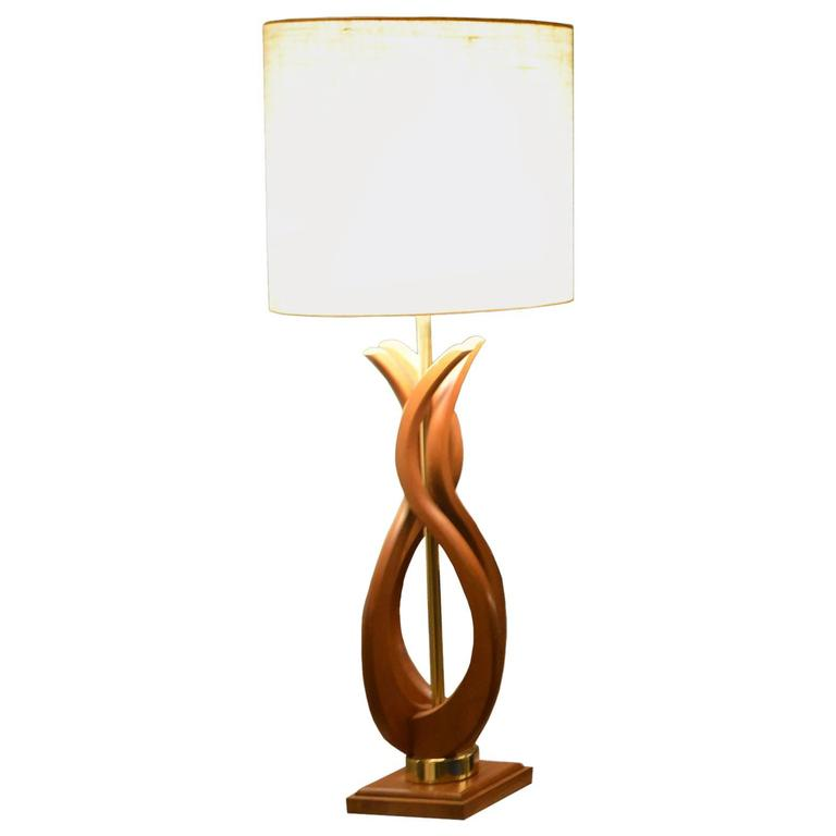 Table lamp in beech and brass usa 1950s at 1stdibs for Lamp table beech