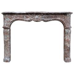 French Louis XV Belgium Rance Marble Fireplace, 18th Century