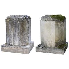 Pair of Hexagonal Stone Pedestals, 19th Century