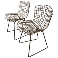 Two Harry Bertoia for Knoll Black Wire Dining Chairs