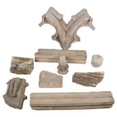 Lot of Eight Architectural Sculpted Stone Fragments, 15th-17th Century