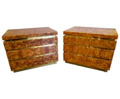 Pair of French Burr Walnut Drawer Side Tables