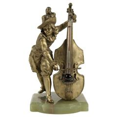 Barometer Regulates and Base in Semi-Precious Stone Representing a Cello Player