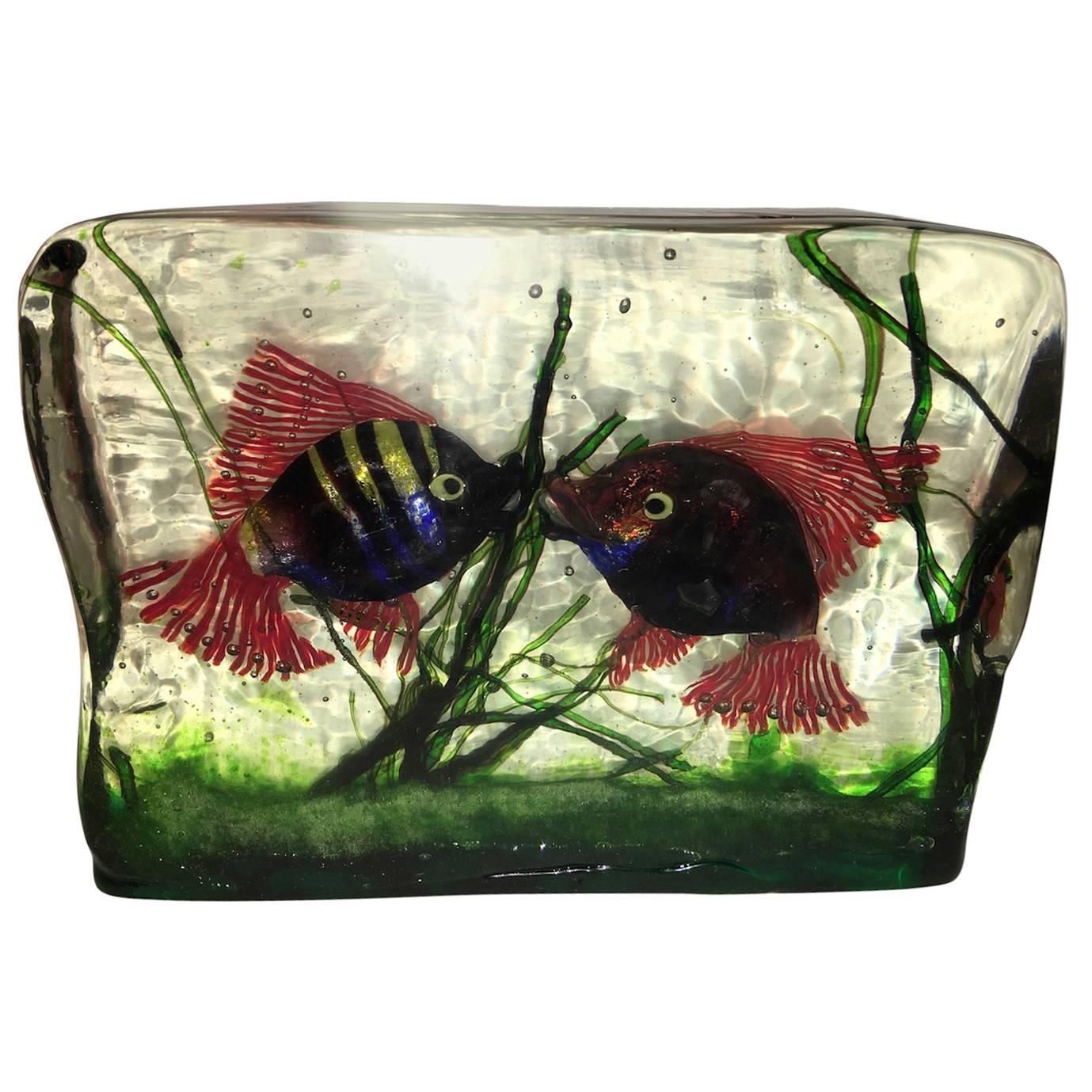Large Murano Glass Aquarium Kissing Fish in Gino Cenedese Style