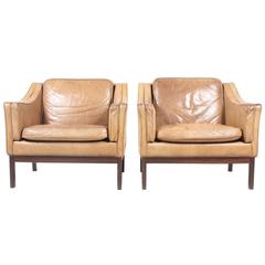 Pair of Danish Leather Lounge Chairs, 1970s