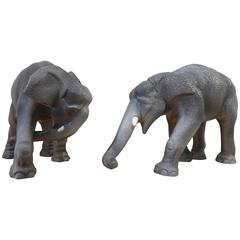 Pair of Faience De Sèvres Elephants, circa 1930s