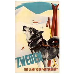 "Original Vintage Poster for ""Sweden - The Country for Winter Sports"" Sledge Dog"