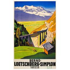 Original Vintage Travel Poster Advertising, the Bern Lotschberg Simplon Railway