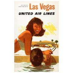 "Original Vintage Las Vegas United Air Lines Poster ""Day Time Sun Night Time Fun"""