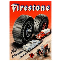 Original Vintage Advertising Poster Firestone Tires Most Kilometers Per Krone