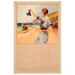 Original Vintage Kodak Camera Advertising Poster ft. Summer Beach Scene Painting