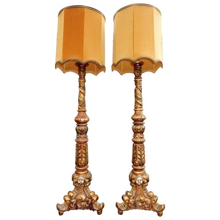 Pair 1950s Baroque Italian Floor Lamps