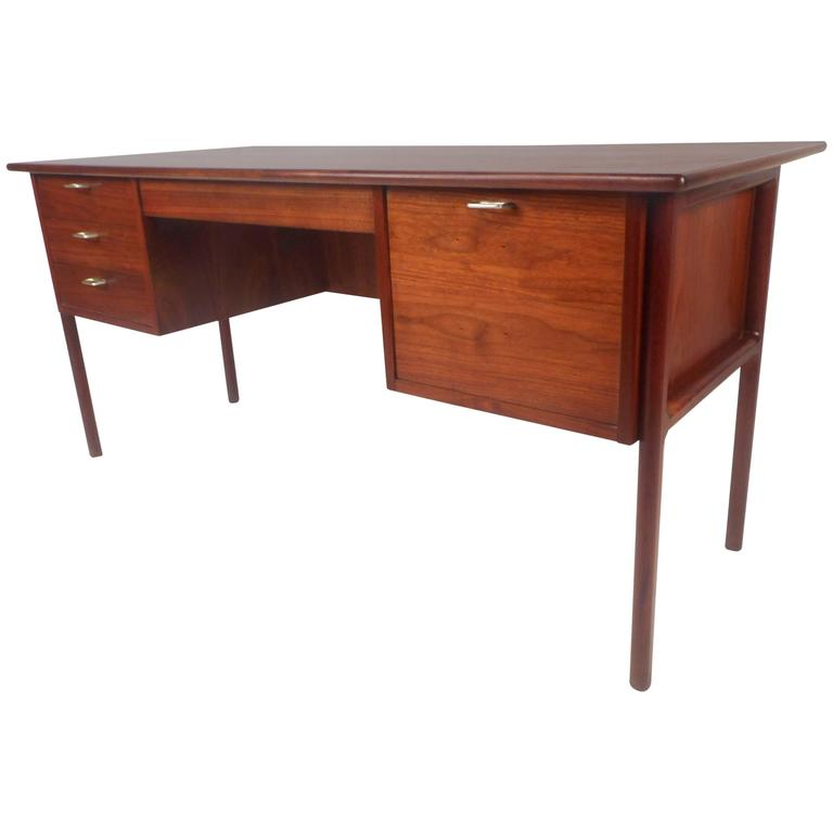 Large Mid Century Modern Walnut Desk With A Finished Back For Sale