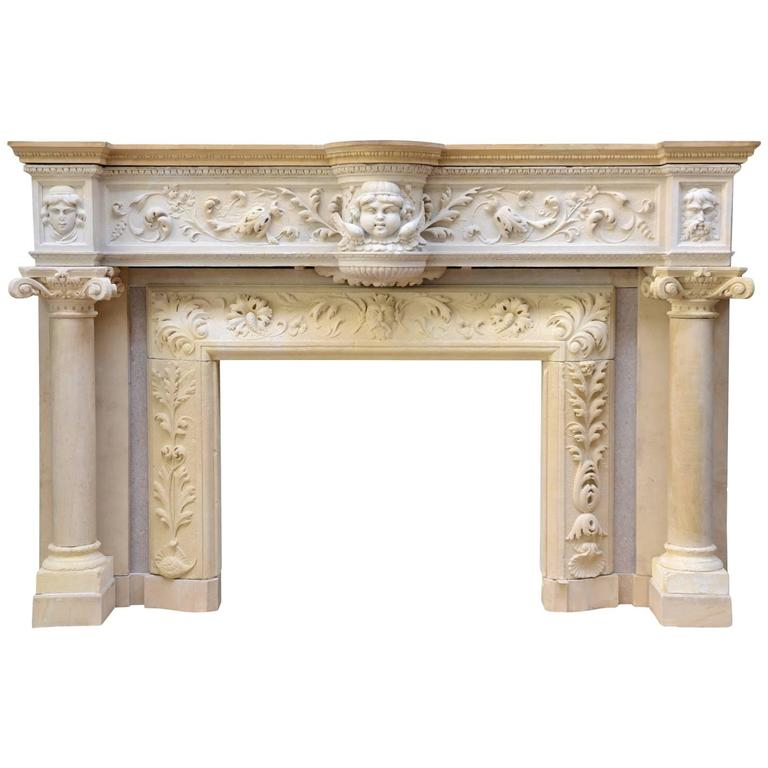 Rare Renaissance Style Stone Fireplace, 19th Century For Sale
