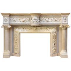 Rare Renaissance Style Stone Fireplace, 19th Century
