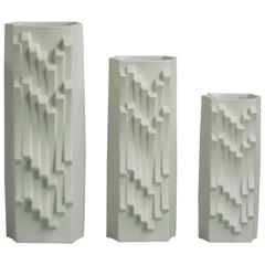 Three Op-Art Vases by Lorenz Hutschenreuther, Germany, 1960s