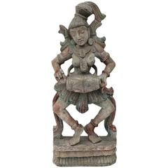 Indian Wood Sculpture of an Apsaras, 19th Century, India