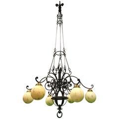 Huge 9 Feet High, Arts & Crafts Wrought Iron, Glass Chandelier / Pendant Light