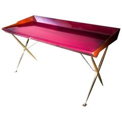 21st Century European Midcentury Inspired Lacquered Wood and Brass Writing Desk