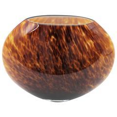 Unusual Large Tortoiseshell Handblown Murano Glass Globe Vase