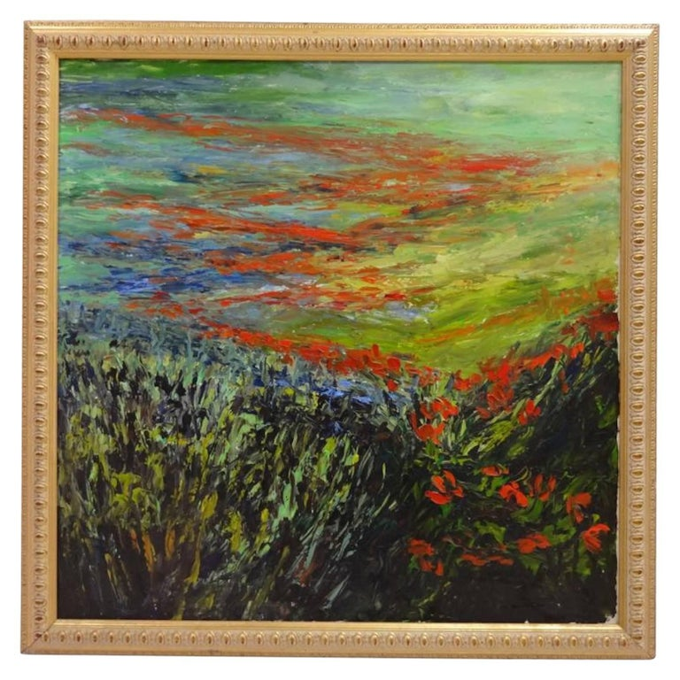 Alexander Kirk Impressionist Oil on Canvas Field of Poppies For Sale