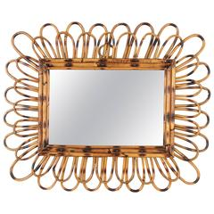Spanish 1960s Rectangular Flower Burst Bamboo Rattan Mirror