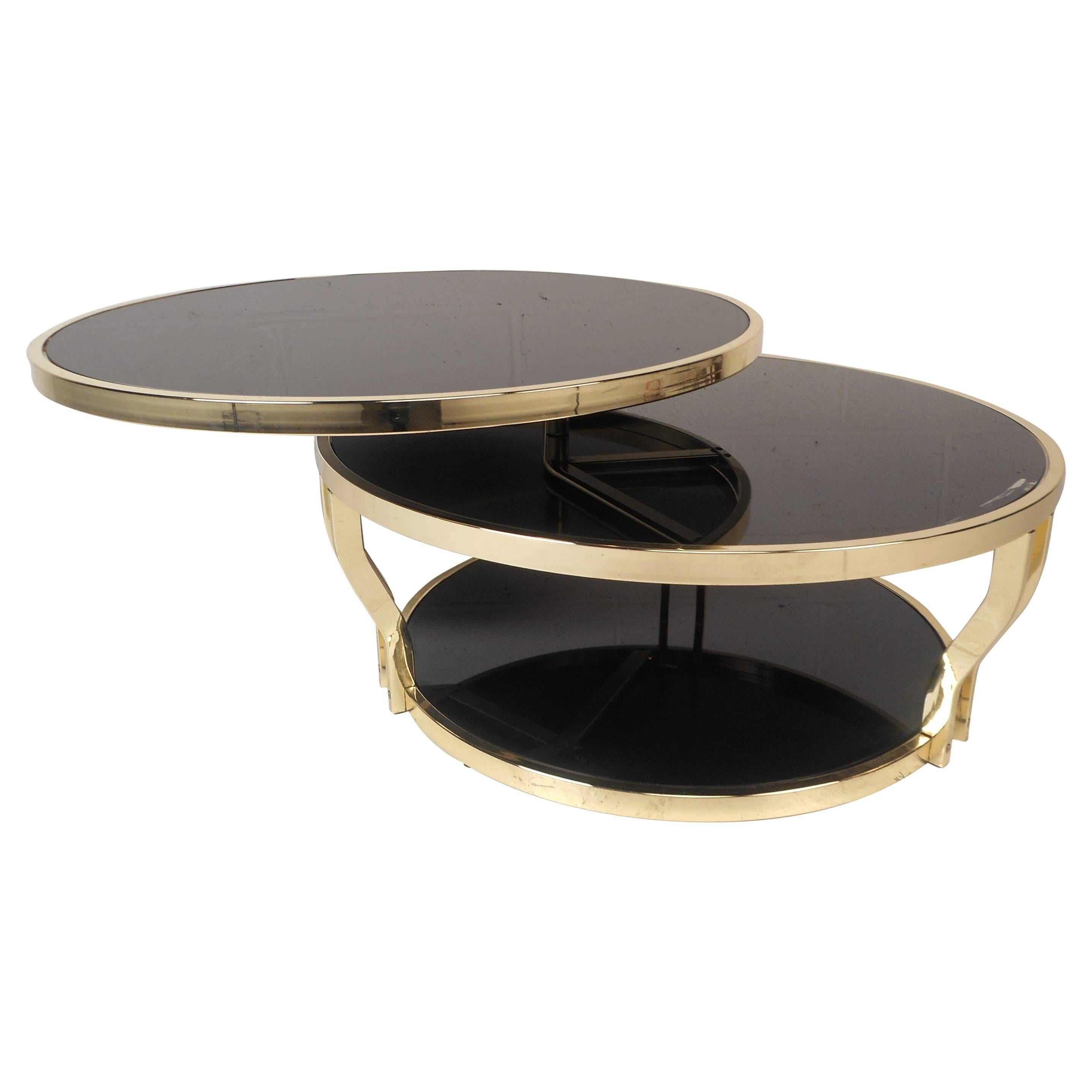 Superieur Mid Century Modern Italian Brass And Smoked Glass Swivel Coffee Table