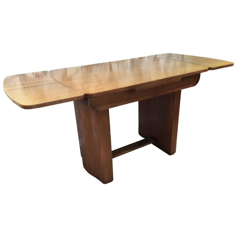 French Art Deco Sycamore Extendable Dining Table Or Writing Desk For Sale