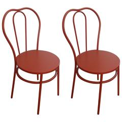 ON SALE NOW!  Magnolia Homes Pair of Candy Apple Red Industrial Bistro Chairs