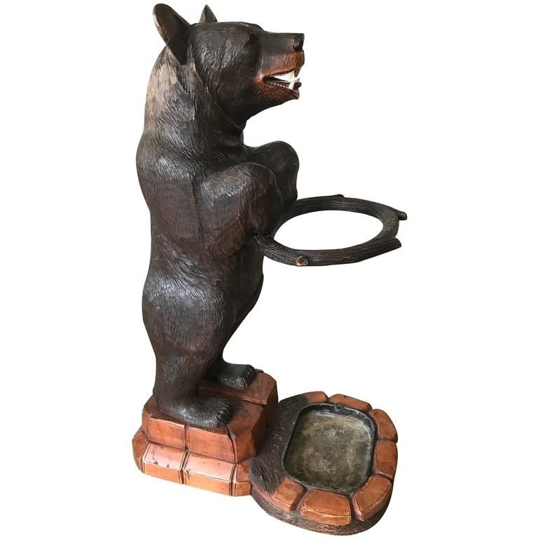 Antique Hand-Carved and Sizable Wooden Black Forest Bear Umbrella & Stick Stand