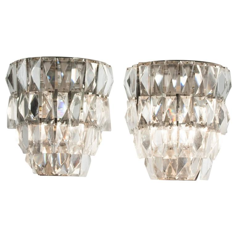 Wall Sconces With Hanging Crystals : Pair of Faceted Hanging Crystal Wall Sconces, Austrian 1960s For Sale at 1stdibs