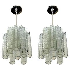Pair of Murano Venini Style Tronchi Glass Ceiling Pendant Lights
