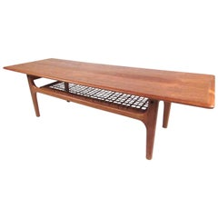 Scandinavian Modern Teak and Cane Coffee Table by Trioh Møbler