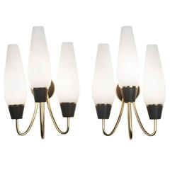 Pair of Three-Arm Frosted Glass Wall Sconces