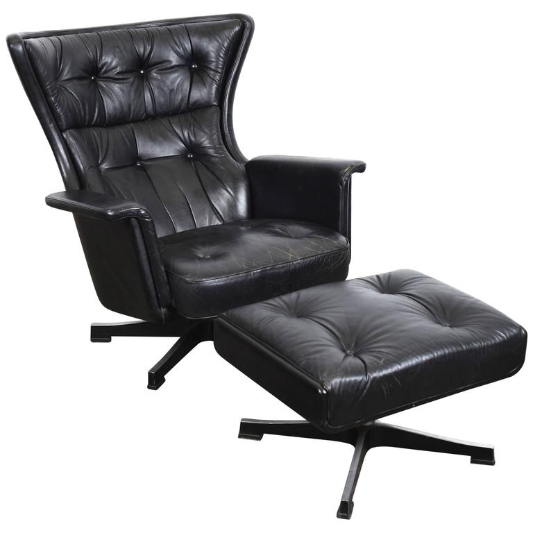 Swedish Mid Century Modern Vintage Black Leather Swivel