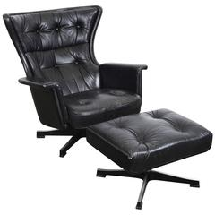 Swedish Mid-Century Modern Vintage Black Leather Swivel Lounge Chair