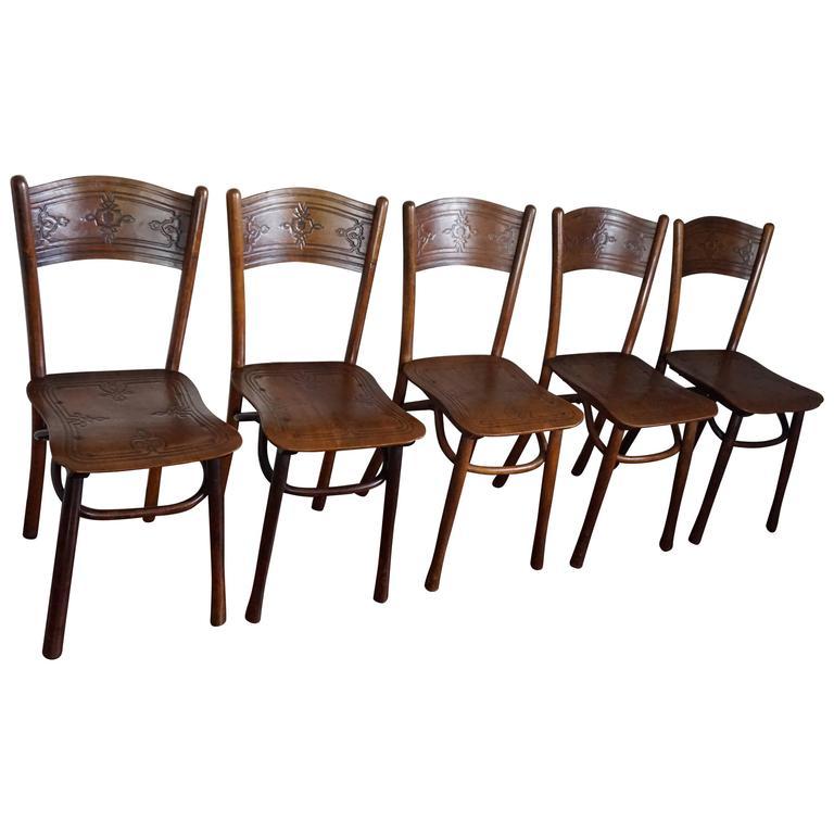 Late 19th Century Set of Five Bentwood Chairs by Jacob & Josef Kohn Austria Wien