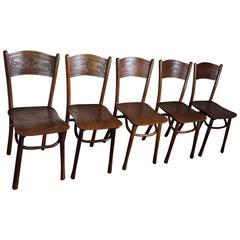 Late 19th Century Set of Five Bentwood Chairs by Jacob & Josef Kohn Austria Wien