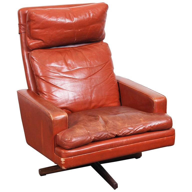 Mid Century Chairs For Sale: Mid-Century Fredrik Kayser Swivel Lounge Chair For Sale At