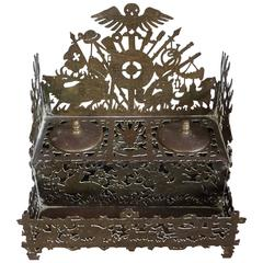 Unique & Intricate Swiss Black Forest Style Hunting Ink Stand Original Inkwells