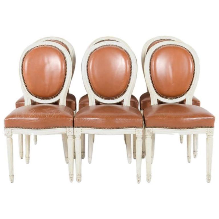 Set Of 8 French Louis XVI Cameo Back Chairs With Leather Upholstery For Sale