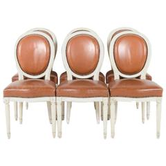 Set of 8 French Louis XVI Cameo Back Chairs with Leather Upholstery