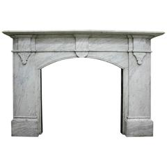 Antique Mid Victorian Carrara Marble Fireplace