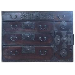 Rare Japanese Sendai Tansu Edo Period Chest
