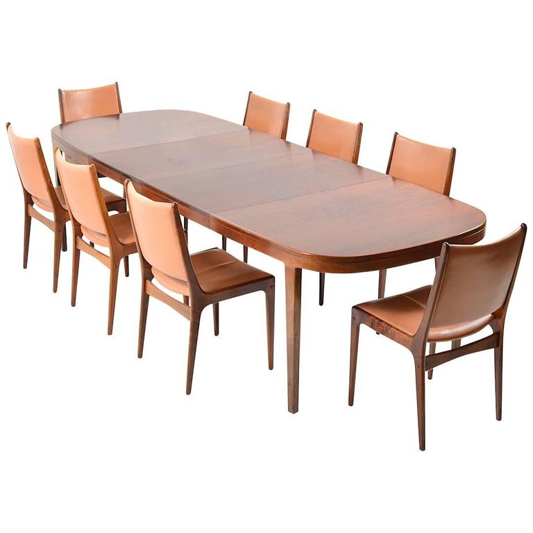 Set of 8 Dining Chairs in Rosewood by Johannes Andersen for Uldum Møbelfabrik