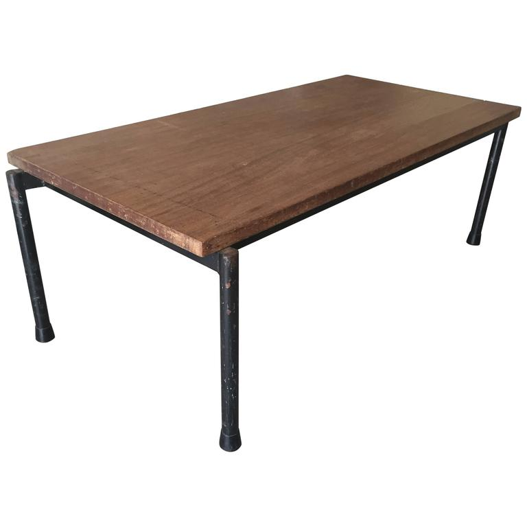 1950s Industrial Coffee Table Blacked Metal And Thick Solid Teak Wood Top  For Sale