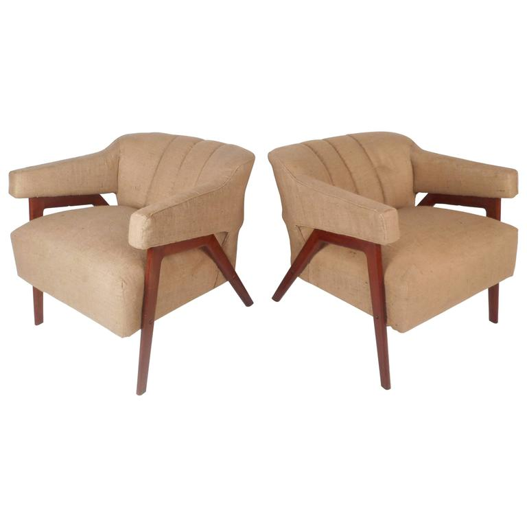 Impressive Pair of Mid-Century Modern Barrel Back Lounge Chairs