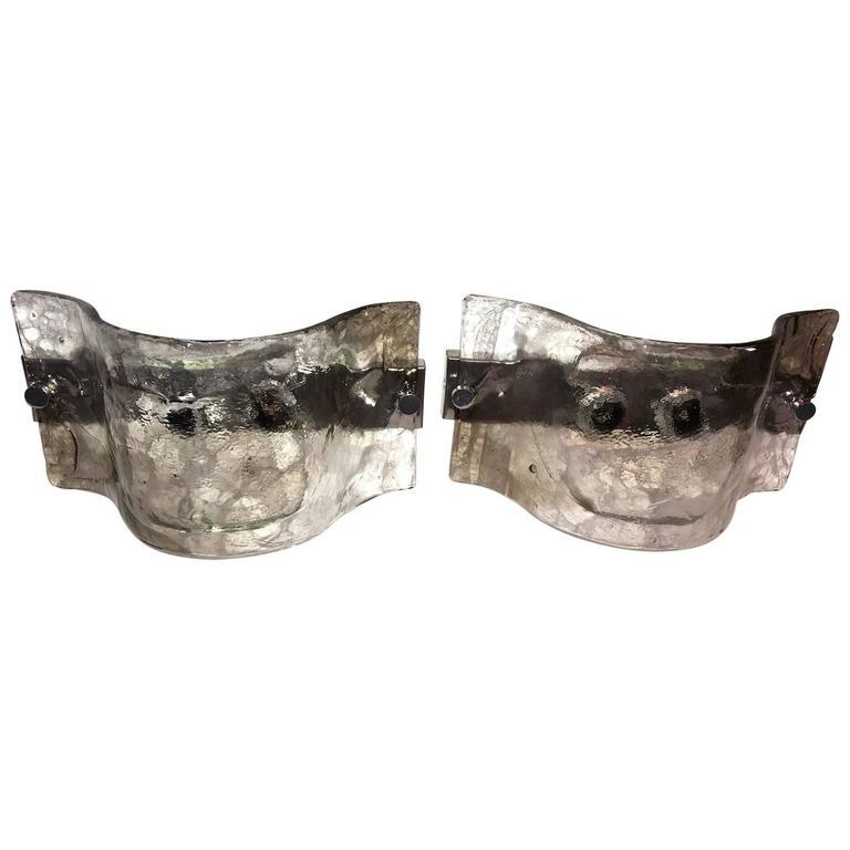 Pair of Italian Murano Glass Sconces by Carlo Nason for Mazzega